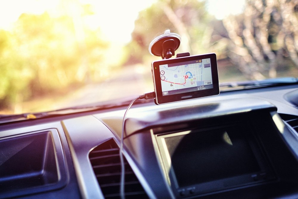 car gps system mounted on windshield