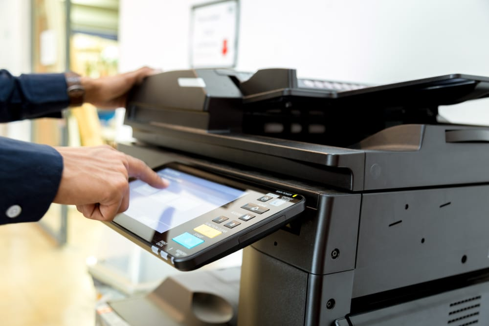 laser printer being used