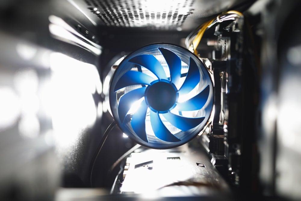 blue cpu cooler inside pc