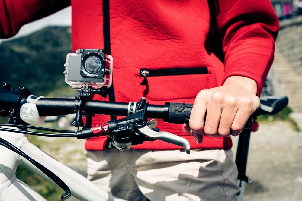 action camera mounted on bike