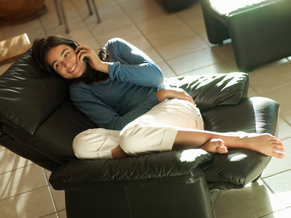 girl in reclining chair