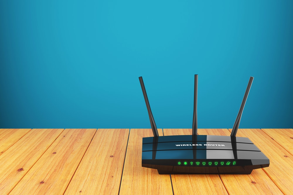 wireless router on wooden table