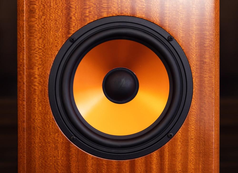 modern orange subwoofer speaker